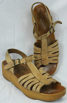 Vintage Famolare GET THERE Wavy Platform Sandals Iconic 70s Hippie Boho Size 7 N