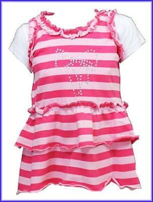 Bnwt Girls  T-Shirt And Pink Striped Frill Top Set Ages 2 To 6 Years Rrp £9.00