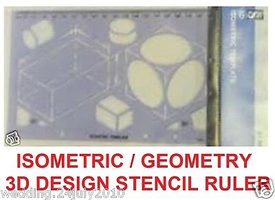 3D Art Isometric Architect Design Drawing Geometry Math Stencil Template Ruler