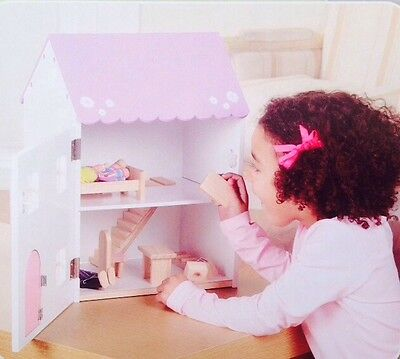 New Traditional Pink White Wooden Dolls House Cottage With Furniture & People
