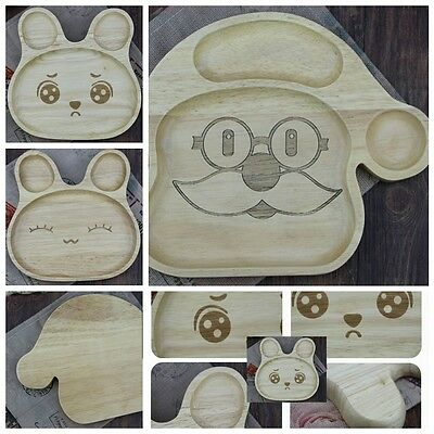 Plate Animal Dish Wooden Kid Serving Food or Bakery Natural Wood Rubber Tree 1pc