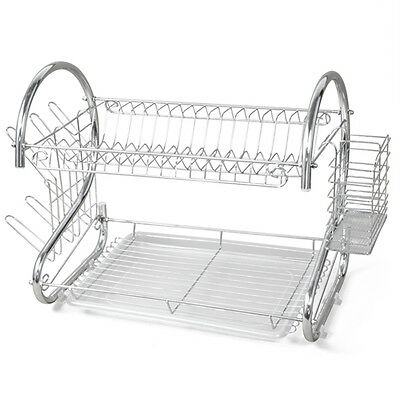 PL New 2 TIER CHROME PLATED DISH CUTLERY CUP DRIP TRAY PLATES HOLDER