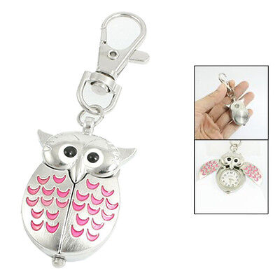 Silver Tone Pink Metal Owl Pendant Knob Adjustable Time Keyring Watch FlyP