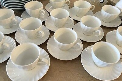 Johnson Brothers Regency Ironstone Cups & Saucers White Swirl