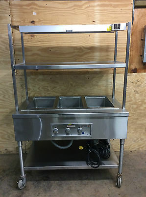 Wells MFG Co. MOD300 3 Pan Drop-In Hot Food Well with stand, shelf and heat lamp