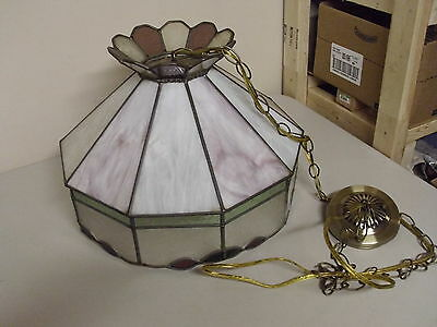 Vintage 10 Panel Stained Glass Hanging Light + Chain + Ceiling Cap
