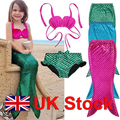 Kids Girls Swimwear Mermaid Tail Sea-maid Bikini 3 PC set Swimming Costume gift