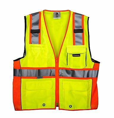 TR INDUSTRIAL Safety Vest Heavy Duty 3M Reflective Strips ANSI/ISEA Compliant