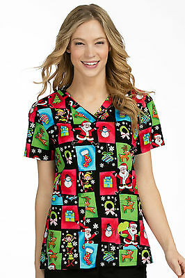 Med Couture Women's Anna Christmas Print Scrub Top 9451-SKST