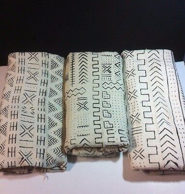 "Authentic White/Black Mudcloth Fabric African Mali Mud Cloth Handwoven 63"" x 45"""