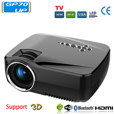Home  HD Cinema Projector Bluetooth WIFI 1920x1080P Wireless Android 4.4 GP70UP