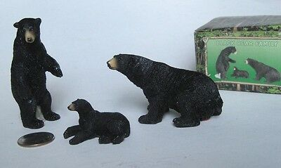 BLACK BEAR FAMILY Wildlife Wild Animal Figurine Set Realistic Resin Cabin Decor