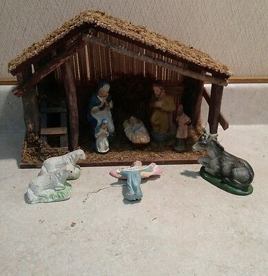 Antique Made in Germany Paper Mache Nativity Set with added Chalkware Items