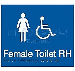 New Toilet Sign Female Accessible with Braille RH aged care equipment