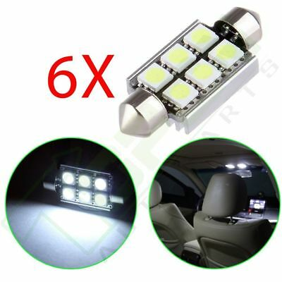 6x White Canbus No Error Festoon Light 39MM 5050 6SMD LED Interior Dome Bulbs