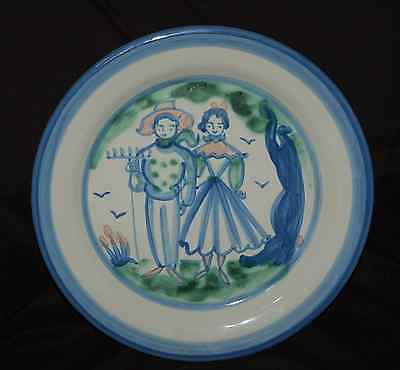 """M. A . Hadley 12-3/4"""" Round Chop Plate Farmer an Wife Image Country Scene Blue"""