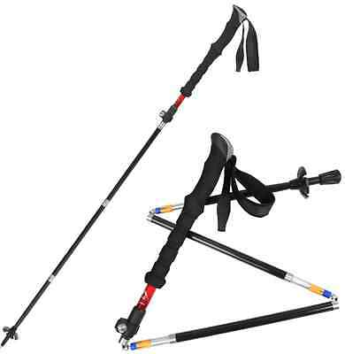 2 Pc Hiking Ultralight Carbon Cork Trekking Pole Foldable Collapsible Adjustable