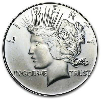 1 oz .999 SILVER Coin Bullion: LIBERTY PEACE DOLLAR Design