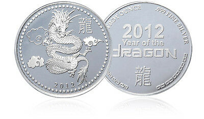 1 oz .999 SILVER Coin Bullion: 2012 YEAR OF THE DRAGON