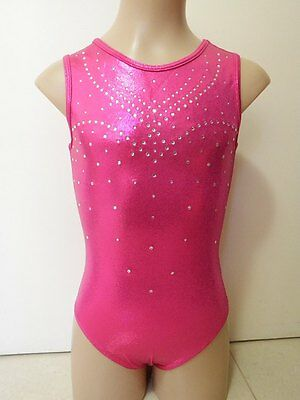NEW HOT PINK SHINY FOIL W/ DIAMANTES CXXS 40cm Sz 2/3 Gymnastics Leotard