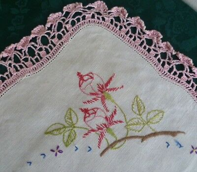 Pink Vintage Hand Embroidered Duchess Set Large & 2 Small Doilies Fushia Design
