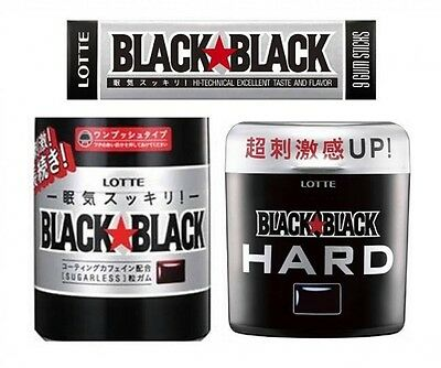 LOTTE BLACK BLACK Chewing Gum sleepiness refreshing Strong Mint Import JAPAN