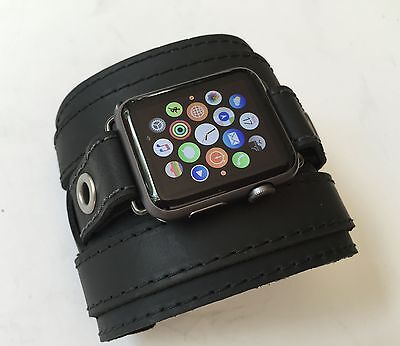 "APPLE WATCH BAND 3"" WIDE GENUINE LEATHER APPLE IWATCH WATCH BAND FITS 42mm,38mm"