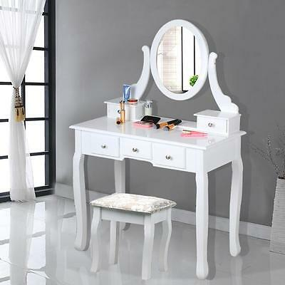 Shabby Chic White Dressing Table with Stool and Oval Mirror Makeup Desk Set New