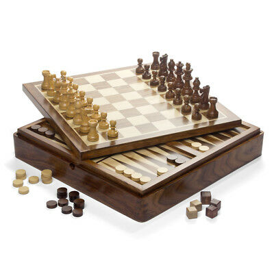 NEW Italfama Wooden Magnetic Chess Checkers & Backgammon Set