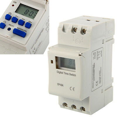 DIN Rail Digital LCD Programmable Timer AC 220V 16A Time Switch Relay New BI117