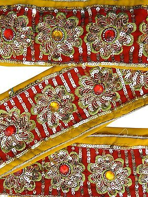 Vintage Sari Border Antique 1YD Used Hand Beaded Indian Trim Yellow Ribbon Lace