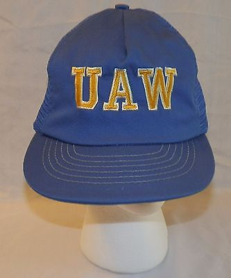 UAW United Auto Workers Union Vintage  Snap Back TRUCKER HAT Foam Front Cap USA