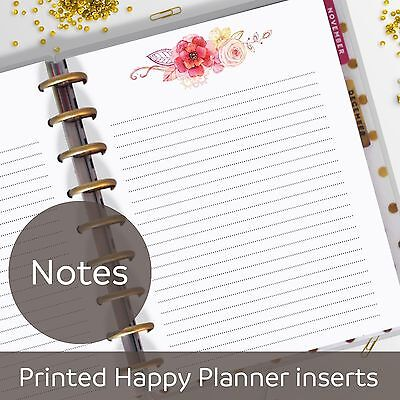 Watercolor Flowers Notes Pages, Memo, Refill, Notes Inserts for Happy Planner