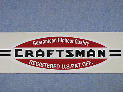 Craftsman Made Lathe Tool Vinyl Sticker Decal 1940's Logo Registered Us Pat Off