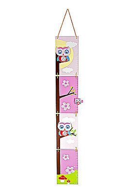 Wooden Pink Owl Height Chart Children Room Wall Hanging Growth Mousehouse