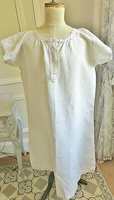 Lovely Antique French Linen Chemise Nightdress Lace Detail Chemise Lin Ancienne