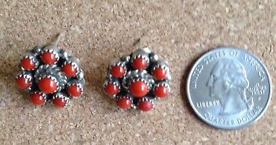 Rare: 8 Red Coral 925 SS, Post Earrings. FREE Shipping! Mint!