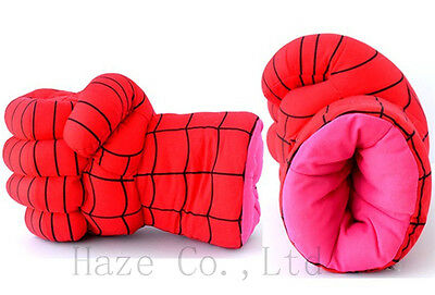 Spiderman Hands Plush Red Cosplay Punching Boxing fists Gloves Set of 2 New