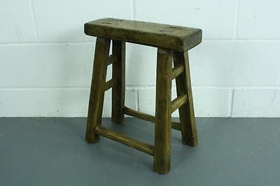 Vintage Rustic Antique Wooden Stool Milking Large Waxed W69