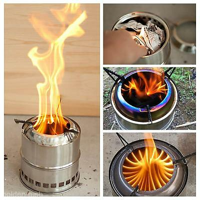 Outdoor Portable Wood Burning Backpacking Emergency Survival BBQ Camping Stove