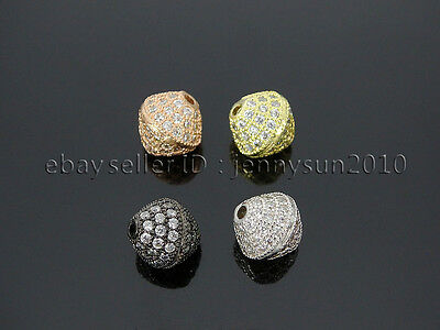 Zircon Gemstones Pave Bicone 10mm Bracelet Connector Charm Beads Silver Gold