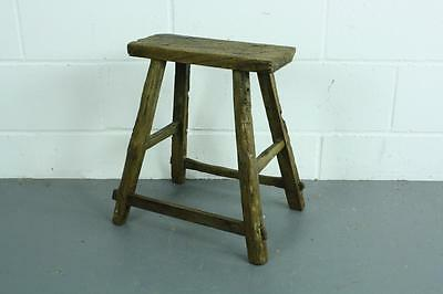 Vintage Rustic Antique Wooden Stool Milking Large Waxed W75