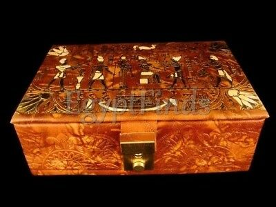 Large Egyptian Osiris And Horus Genuine Leather Jewelry Box Hand Made in Egypt