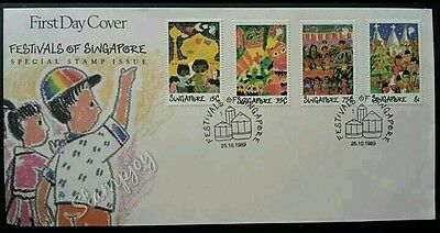 Festivals Of Singapore 1989 Children Painting New Year Christmas (FDC) *clean