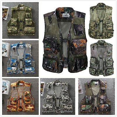 UK Men Quick-Dry Multi-Pocket Fly Fishing Photo Vest Outdoor Hunting Mesh Jacket