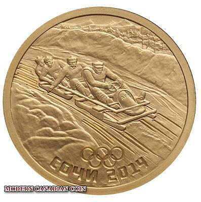 2014 Russia Sochi Pure Gold Coin 50 Roubles - Bobsleigh - Winter Olympic Game
