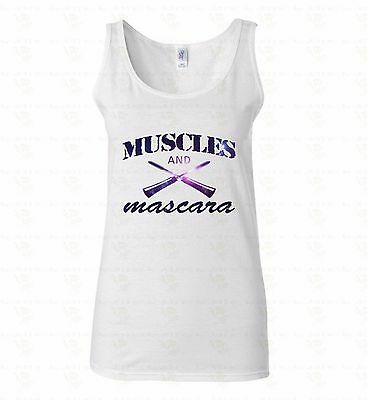 123dbac04cad57 Muscles And Mascara WOMEN TANK TOP T-shirt Workout Lifting Sporty Gym Tee