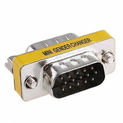 SODIAL (R) 15-Pin HD15 VGA/ SVGA M-M Mini Gender Changer GY