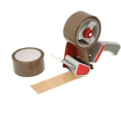 Tape Gun Dispenser +6 Huge Rolls Of Brown Buff 48mm x 66m Parcel Packing Tape