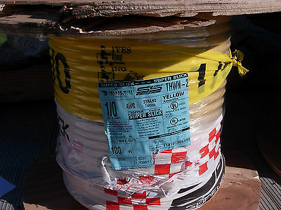 New 100 Feet Of 1/o Thwn-2 Copper Wire Stranded - Yellow Insulated Super Slick